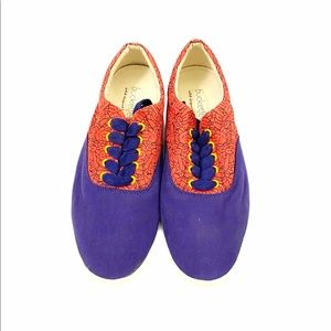 Bucket Feet Like New Red Blue Lace Up Sneakers